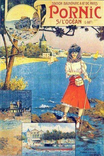 Affiche Pornic sur l'océan réalisé par le syndicat d'initiative en 1908