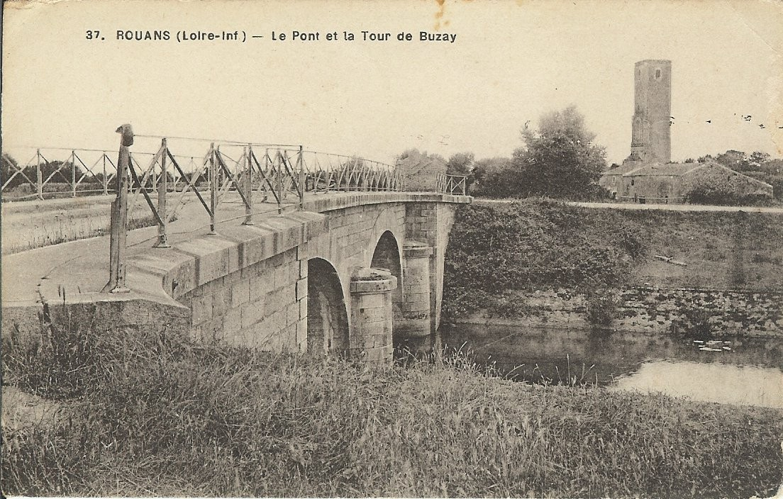 Rouans pont et tour de Buzay en 1857