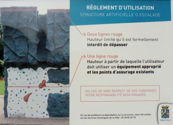 Mur d'escalade du Val Saint-Martin Pornic Reglement d'utilisation