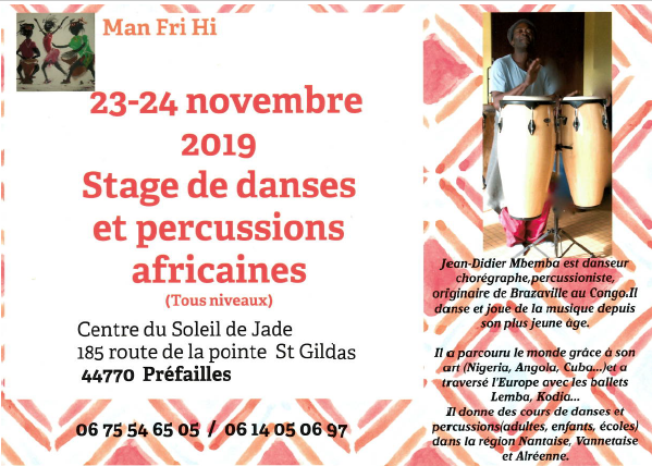 Stage des danses et percussions Africaines