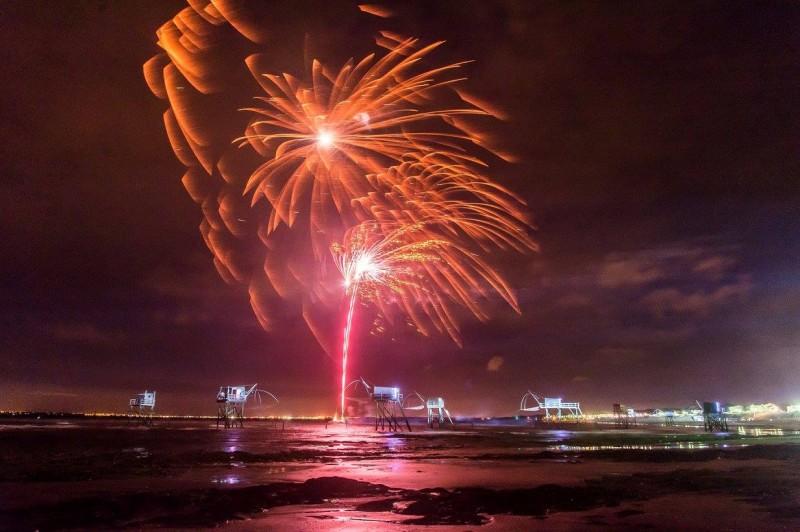 illuminations des pêcheries, st michel, tharon, feu d'artifice, 15 août