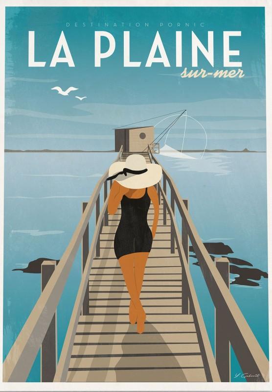affiche, pecherie, affiche destination pornic, affiche la plaine sur mer, affiche pecherie