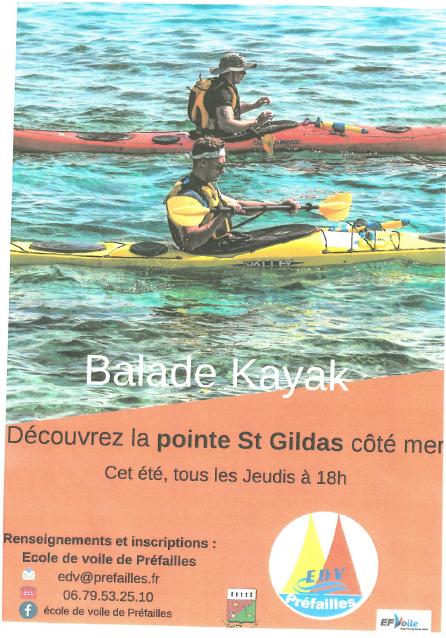 Flyer balade kayak par l'école de voile, prefailles, balade, kayak,
