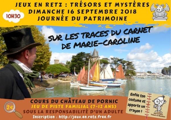 Jeu de piste Sur les traces du carnet de Marie-Caroline Jeux en Retz Journée du patrimoine
