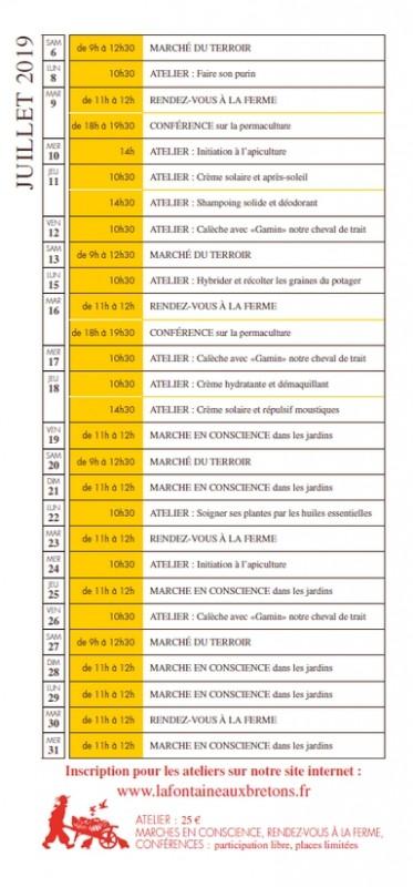 PROGRAMME JUILLET LA FONTAINE AUX BRETONS PORNIC