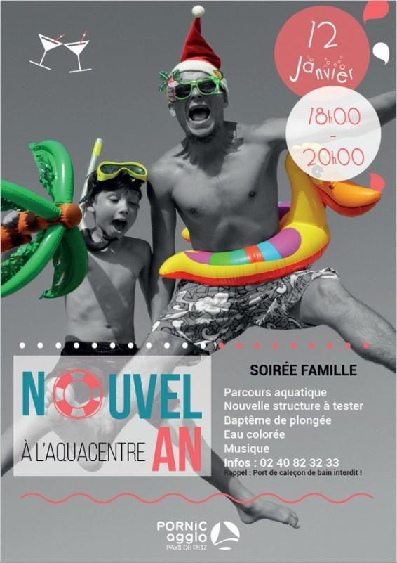 SOIREE NOUVELLE ANNEE A L'AQUACENTRE PORNIC, SOIREE FAMILLE 18h-20h, STRUCTURE GONFLABLE,