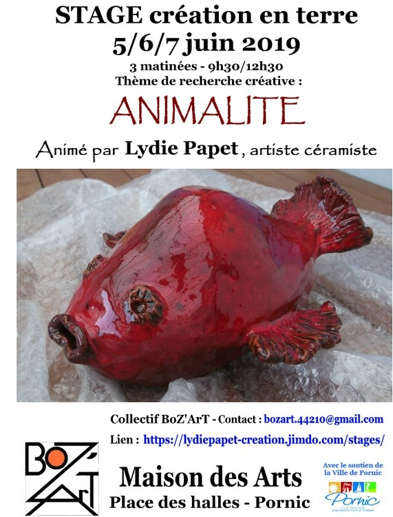STAGE CREATION EN TERRE: ANIMALITE PORNIC RECHERCHE CREATIVE