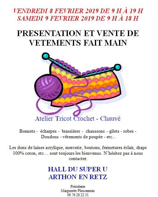 EXPOSITION ET VENTE DE VÊTEMENTS FAIT MAIN, expo vente, atelier tricot crochet, chauvé, chaumes en retz, arthon